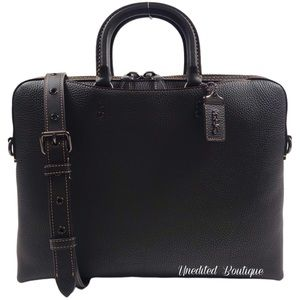 COACH Rogue Leather Carryall Briefcase In Black